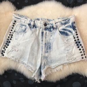 Sexy cut off jean studded shorts denim button fly